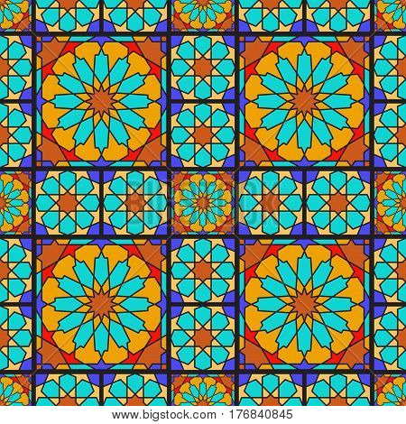 Arabic ornamental geometric seamless pattern. Stained glass or mosaic background