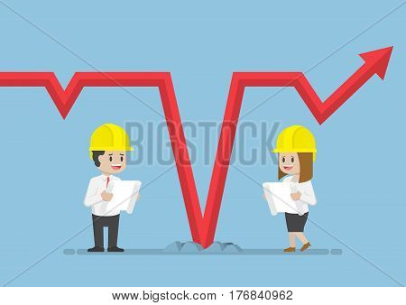 Business People Wearing Safety Helmet And Analysing Falling Graph