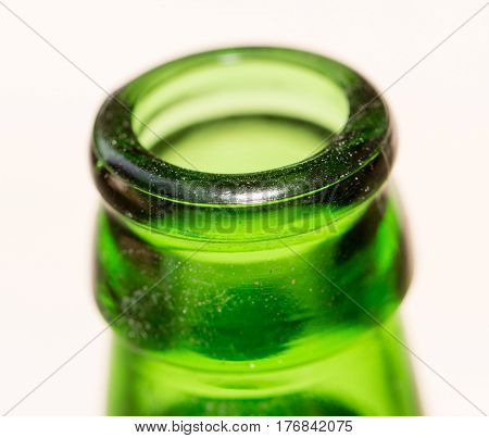 green glass bottle neck. close . Photo taken by professional camera and lens