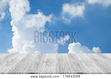 Blue Sky Cloud With Wood Terrace