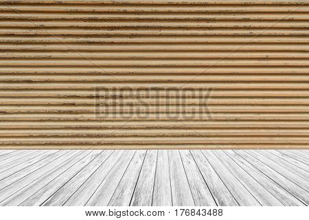 Metal Rust Wall Texture Surface With Wood Terrace