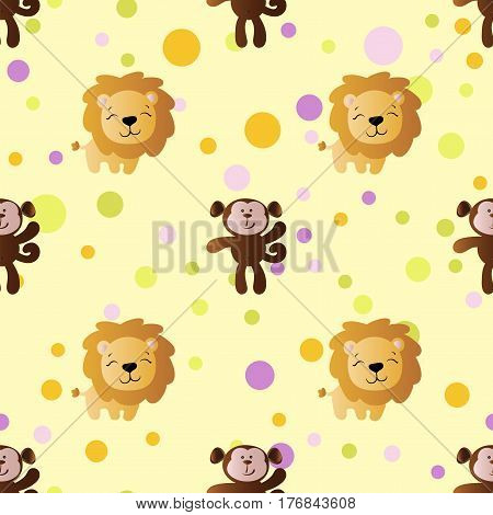 seamless pattern with cartoon cute toy baby monkey lion and Circles on a light yellow background