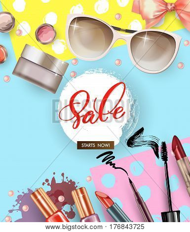 Cosmetics and fashion background with make up artist objects nail Polish lipsticksunglasses mascara blush . Sale Concept. poster