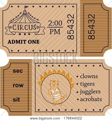 Circus entrance vector Vintage tickets. Doodle style. Ticket for entrance to circus and illustration template ticket to event