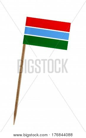 Tooth pick wit a small paper flag of Gambia
