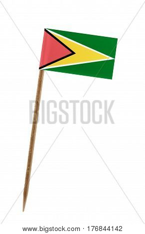 Tooth pick wit a small paper flag of Guyana
