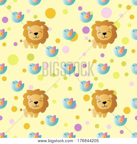 seamless pattern with cartoon cute toy baby lion bird and Circles on a light yellow background