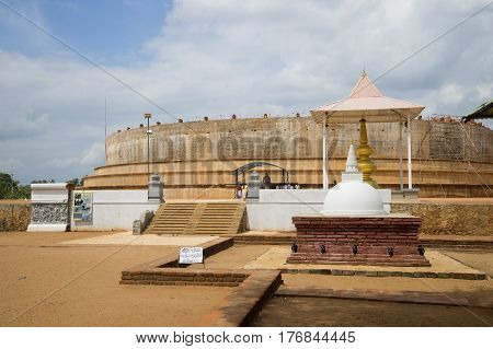 The ancient restored Dagoba in the center of Anuradhapura. Sri Lanka