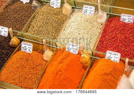 Colorful spices for sale at a market in Istanbul