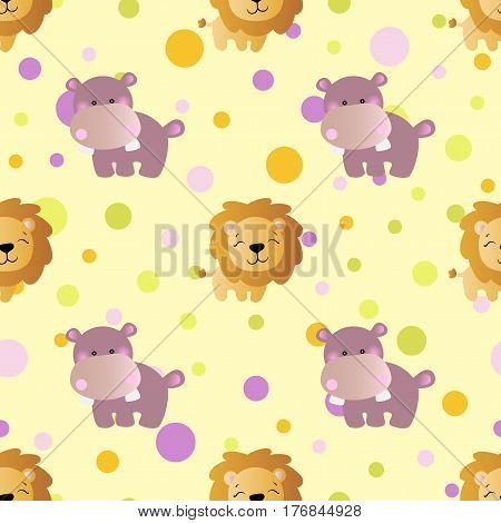 seamless pattern with cartoon cute toy baby behemoth lion and Circles on a light yellow background