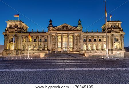 The famous Reichstag in Berlin at night
