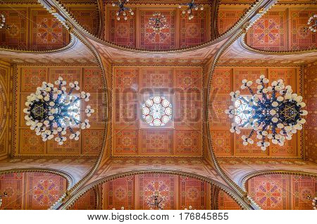 Ceiling Of The Dohany Street Synagogue In Budapest, Hungary.