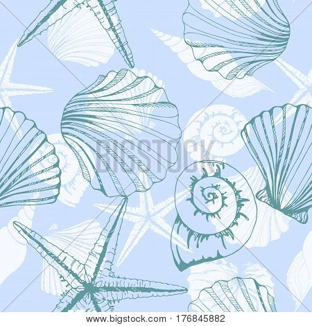 Hand drawn vector illustrations - seamless pattern of seashells. Marine background. Perfect for invitations greeting cards posters prints banners flyers etc. Vector template
