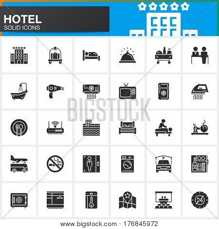 Hotel services and facilities vector icons set modern solid symbol collection filled style pictogram pack. Signs logo illustration. Set includes icons as hotel bed reception safe tv pool key