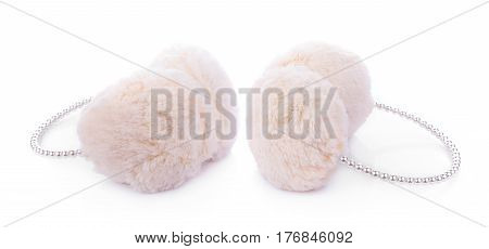 white winter earmuffs isolated on white background