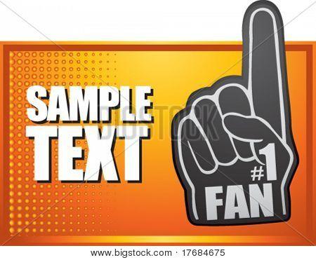 number one fan foam hand on orange halftone banner