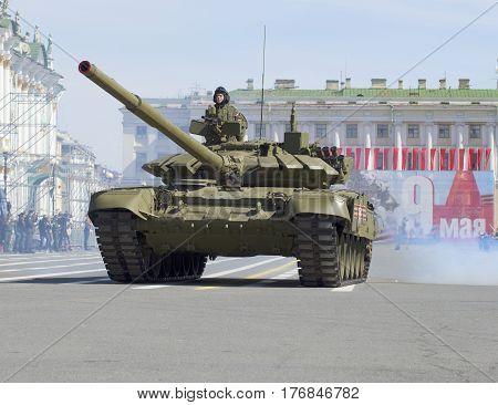 SAINT PETERSBURG, RUSSIA - MAY 05, 2015: Tank T-90