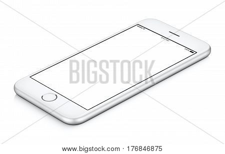 White mobile smartphone mockup clockwise rotated lies on the surface with blank screen isolated on white background. You can use this smartphone mock-up for your web project or design presentation.