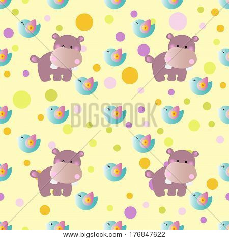 seamless pattern with cartoon cute toy baby behemoth bird and Circles on a light yellow background