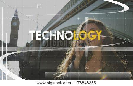 Technology Innovation Girl Talking Phone