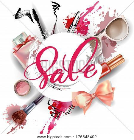 Cosmetics and fashion background with make up artist objects: women's black shoes perfumes nail Polish keys with keychain lip gloss mascara blush powder brush powder puff . Sale Concept.