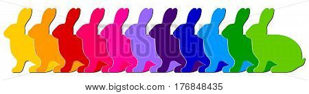 Multicolored side silhouettes of rabbits in a row isolated on white background. Vector illustration.