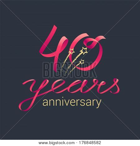 40 years anniversary vector icon, logo. Graphic design element with red lettering and golden stars for decoration for 40th anniversary celebration
