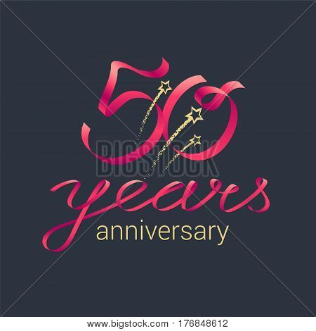 50 years anniversary vector icon, logo. Graphic design element with red lettering and golden stars for decoration for 50th anniversary celebration