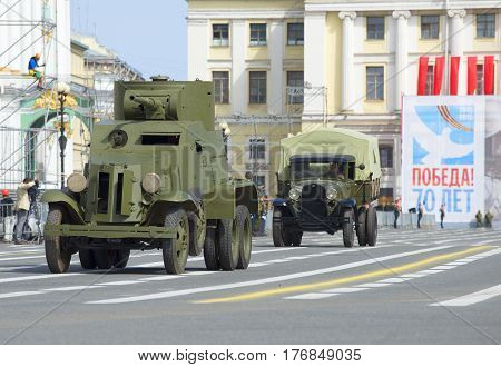 SAINT PETERSBURG, RUSSIA - MAY 05, 2015: Armored car BA-3 and car GAZ-AA at the rehearsal of the parade in honor of Victory Day