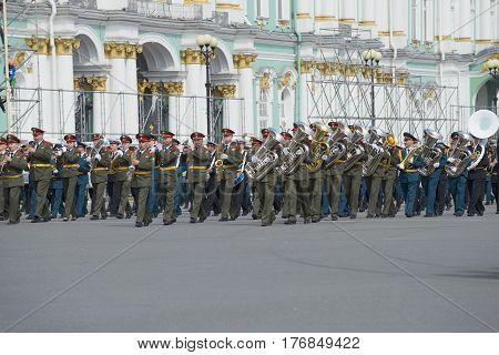 SAINT PETERSBURG, RUSSIA - MAY 05, 2015: Military orchestra at the rehearsal of parade in honor of Victory Day. Saint Petersburg