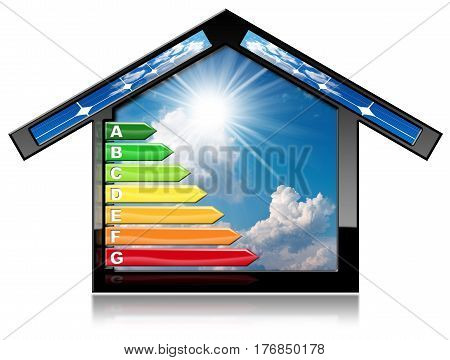 Energy Efficiency - 3D illustration of a symbol in the shape of house with energy efficiency rating and solar panels. Isolated on white background