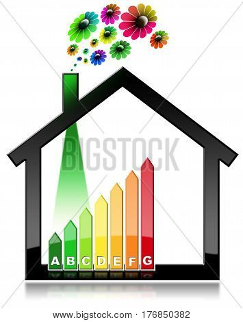 Energy Efficiency - 3D illustration of a symbol in the shape of house with energy efficiency rating and flowers. Isolated on white background