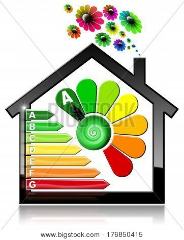 Energy Efficiency A - 3D illustration of a symbol in the shape of house with energy efficiency rating and flowers. Isolated on white background