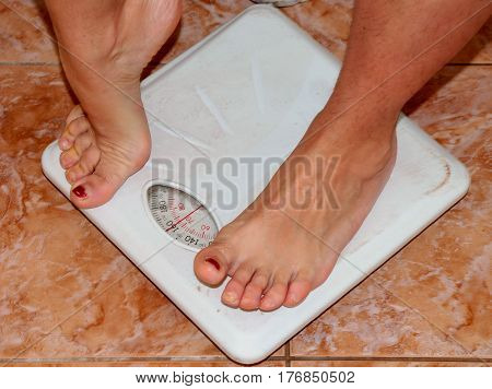 Scales for weighing. To monitor beautiful figure, scales for weighing - first assistant for proper,healthy diet.