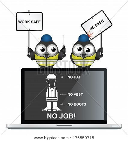 Construction workers with health and safety work safe be safe message perched on a laptop with wear personal protection equipment on screen