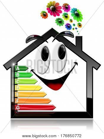 3D illustration of a symbol in the shape of smiling house with energy efficiency rating and flowers. Isolated on white background