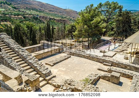 The ruins of the Palace of Knossos in Crete