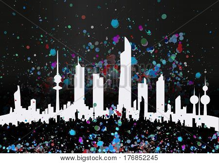 Colorful Ink Drops Artistic Kuwait Sihouettes Skyline