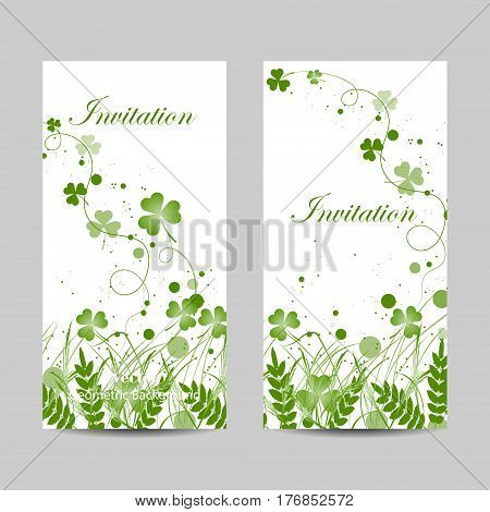Set of vertical banners. Beautiful green grass, circles and flying ribbons with clover isolated on white background.