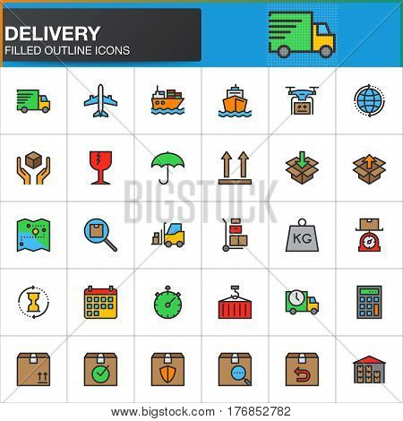 Delivery logistics line icons set filled outline vector symbol collection linear colorful pictogram pack. Signs logo illustration. Set includes icons as shipping transportation tracking parcel