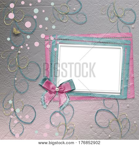 Old Vintage Photo Album With Beautiful Bows