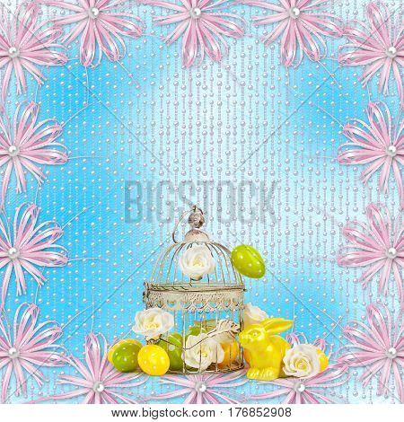 Easter Eggs And Funny Bunny  On Blue Background