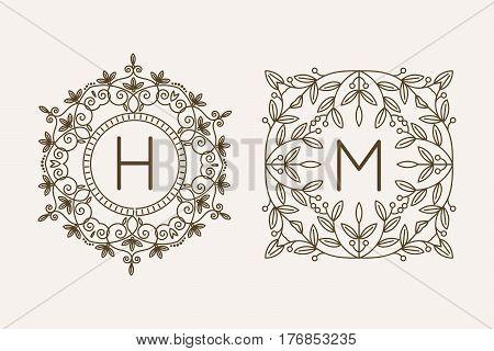 Monogram logo and text badge emblem line art vector illustration luxury template flourishes calligraphic leaves elegant ornament sign. Flourish outline decoration frame border with letter.