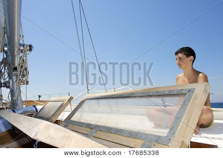 Teenager On A Sail Boat