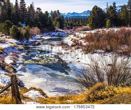 Snow And Ice Covered Stream In The Sierra Nevada Mountains