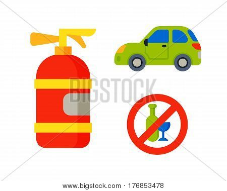 Car vehicle transport with fire extinguisher race model sign technology style and generic automobile contemporary kid toy flat vector illustration isolated icon. Luxury new wheel racing motor drive.