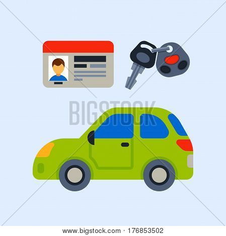 Car vehicle transport driver license identification race model sign technology style and generic automobile contemporary kid toy flat vector illustration. Luxury new wheel racing motor drive.