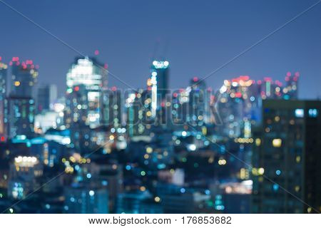 City blurred light night view cityscape downtown abstract background