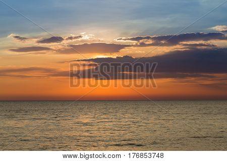 Beauty natural seacoast skyline after sunset natural landscape background