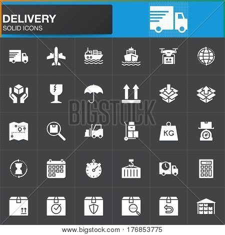 Delivery and logistics vector icons set modern solid symbol collection filled white pictogram pack. Signs logo illustration. Set includes icons as shipping transportation tracking parcel weight